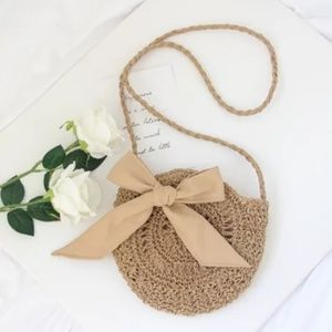 🆕Cute Circle Straw Bags with cute Bow Beige Brown